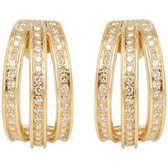 Cartier 18 Karat Yellow Gold Round Brilliant Cut Diamond Triple Hoop Earrings