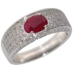 Ruby and White Diamonds on White Gold 18 Carat Cocktail Ring
