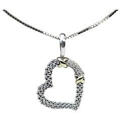 Lagos Diamond Sterling Silver 18 Karat Yellow Gold XX Caviar Heart Pendant