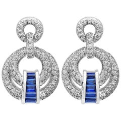 Emilio Jewelry Elegant Sapphire Diamond Earrings