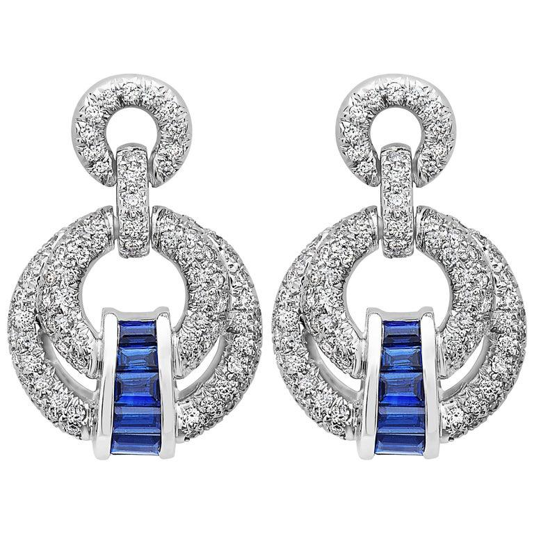 Emilio Jewelry Elegant Sapphire Diamond Earrings