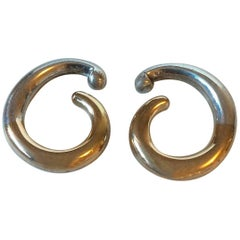 Georg Jensen Earring in Sterling Silver and 14 Karat Gold No A33