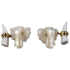 Elephant Gold Cufflinks in Mother of Pearl and White Agate