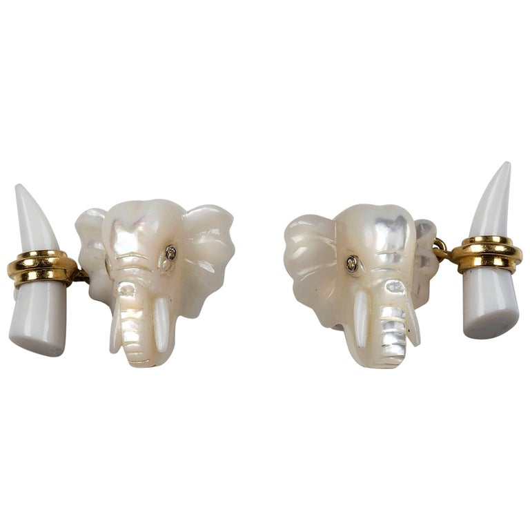 Elephant Gold Cufflinks in Mother of Pearl and White Agate For Sale