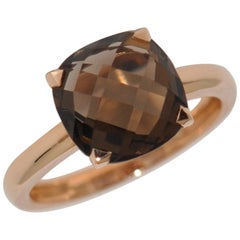 Smokey Quartz and Rose Gold 18 Carat Fashion Ring