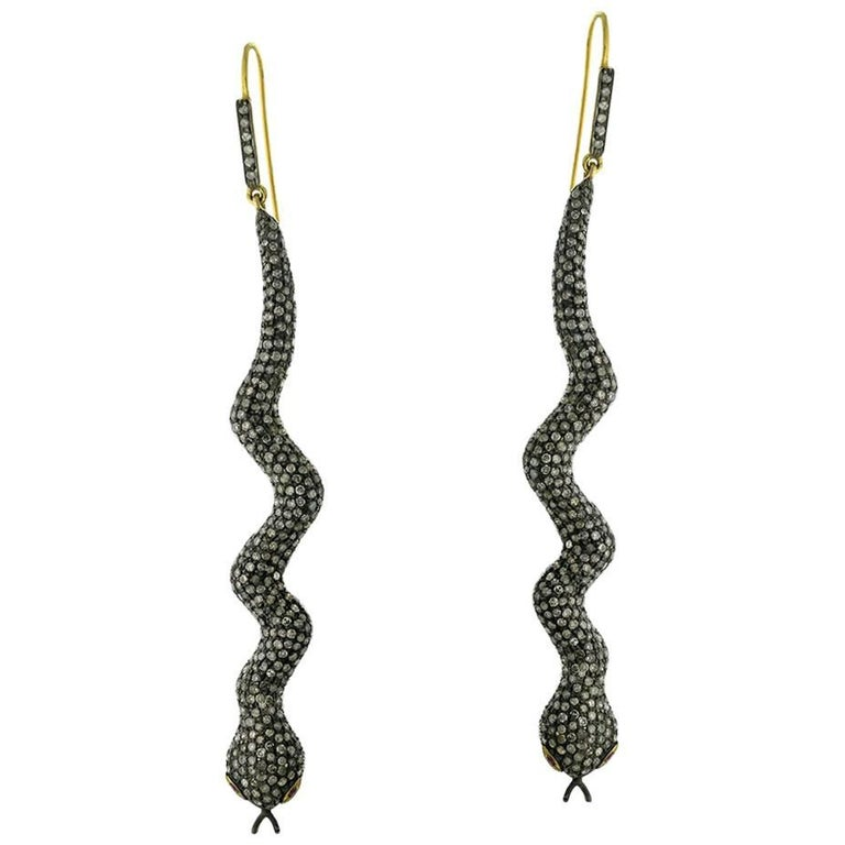 Pave Diamond Snake Earring