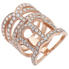 Emilio Jewelry Diamond Crown 18 Karat Rose Gold Ring
