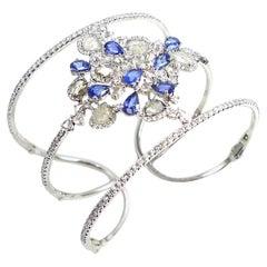 Diamond and Blue Sapphire Bangle