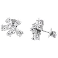 Stunning 14 Karat White Gold and Diamond Flower Stud Earrings