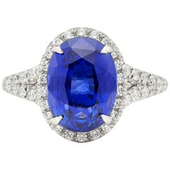 Unheated 5.08 Carat Blue Sapphire in Custom Platinum and Diamond Ring