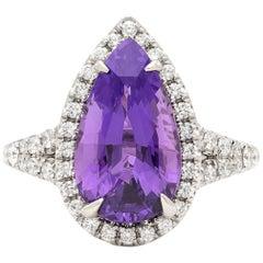 5.04 Carat Unheated Natural Purple Sapphire in Custom Diamond Platinum Ring