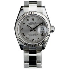 Rolex Ladies Stainless Steel Datejust Rhodium Dial Wristwatch