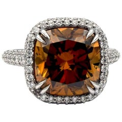 GIA Certified 6.88 Carat Cushion Cut Fancy Deep Brown Orange VS2 Ring