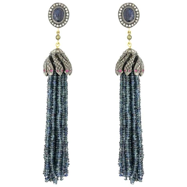 Snake Tassel Earring with Sapphire
