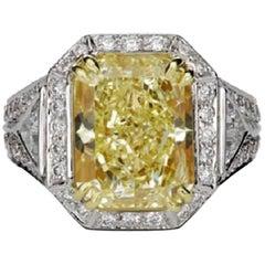 Scarselli 6.35 Carat Fancy Yellow Radiant Diamond Ring in Platinum GIA Certified