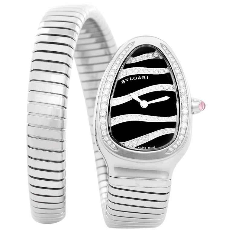 Bulgari Stainless Steel Serpenti Tubogas Quartz Wristwatch