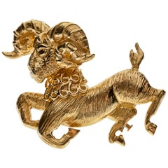David Webb Ram Brooch