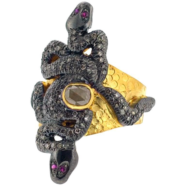 Snake Ring with Diamonds in 14 Karat Gold