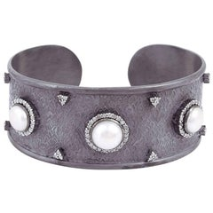 Dark Black Rhodium Cuff with Diamonds and Pearls
