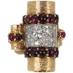 Deco Retro 1930's Ruby Cabochon 14K Platinum Diamond Ring 4.49 Carats