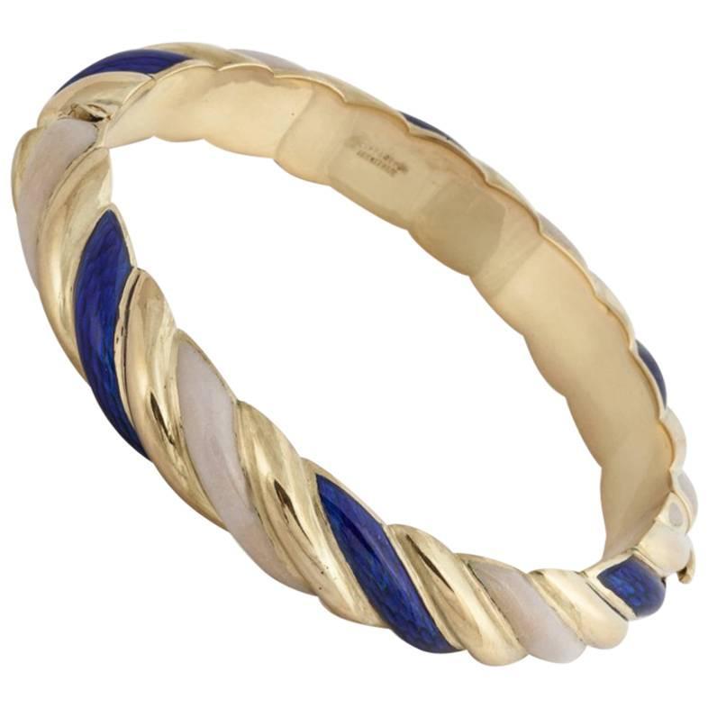 Tiffany & Co. 18K Gold Blue and White Enamel Bangle Bracelet