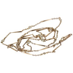Gorgeous Vintage 14K Yellow Gold Bar Link Chain 1.38 Carats of Diamonds