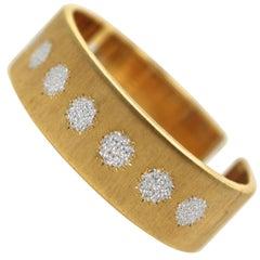 Buccellati 18 Karat Textured Brushed Yellow Gold and White Gold Cuff Bracelet