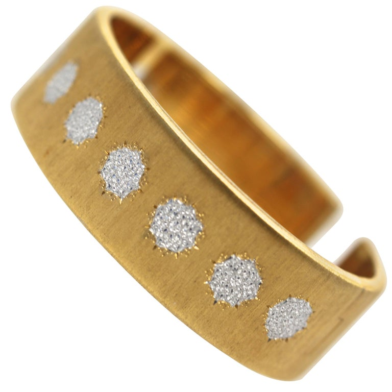 Buccellati 18 Karat Textured Brushed Yellow Gold and White Gold Cuff Bracelet