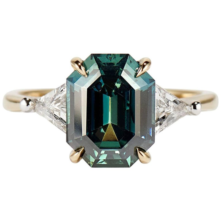 Cushla Whiting 4.27 Carat Blue Green Sapphire 'Marni' Engagement Ring For Sale