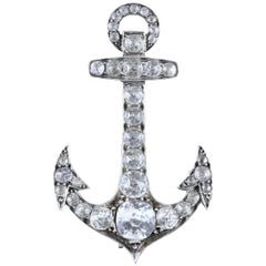 Antique French Large Silver Paste Anchor Brooch, circa 1880
