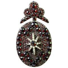 Antique Victorian Bohemian Garnet Gold Pearl Pendant Locket, circa 1880