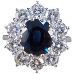 Sapphire and Diamond 18 Carat White Gold Cluster Engagement Ring