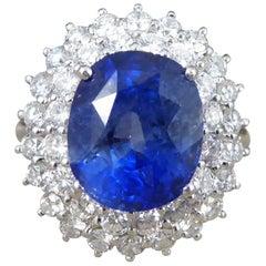 Sapphire 6 Carat and Diamond 18 Carat White Gold Engagement Ring