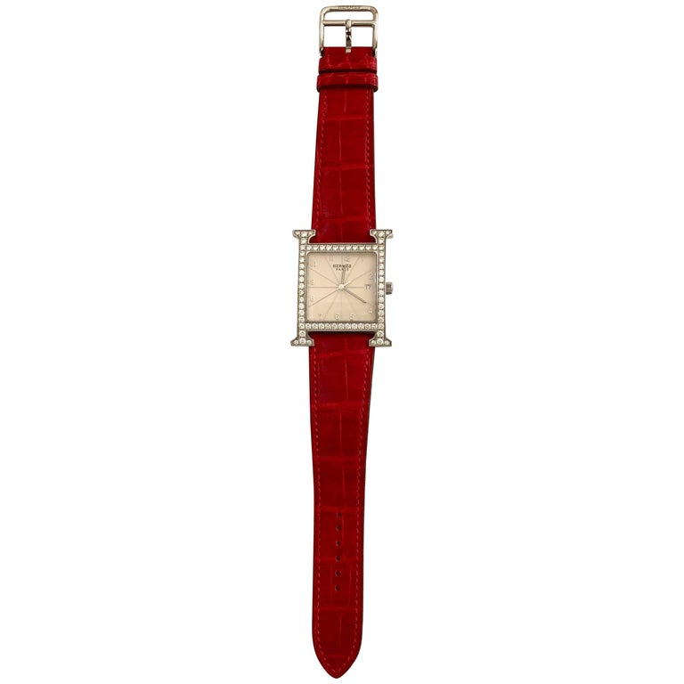 Hermes Stainless Steel Diamond Heure H Watch For Sale