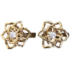 Piaget Rose Collection Gold Brilliant Cut Diamond Earrings
