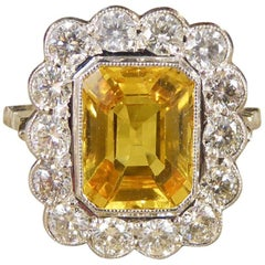 Yellow Sapphire 3 Carat and Diamond Engagement 18 Carat White Gold Ring