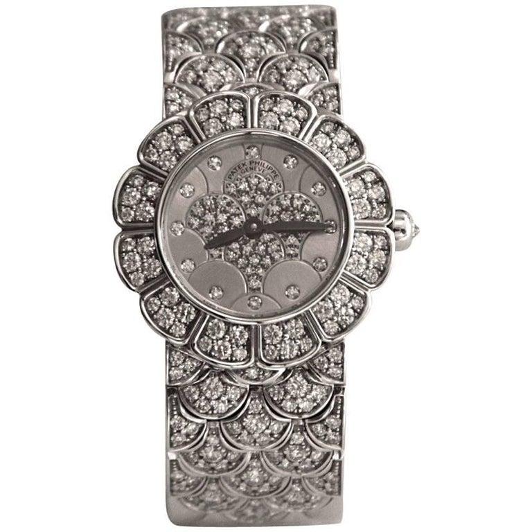 Patek Philippe Calatrava 18 Karat White Gold and Diamond Watch For Sale