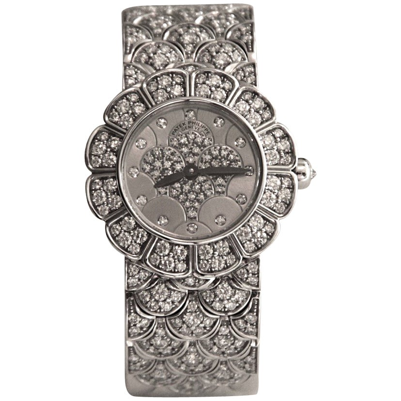 Patek Philippe Calatrava 18 Karat White Gold and Diamond Watch