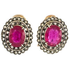 Rubies Old Diamonds Rose Gold and Silver Earrings