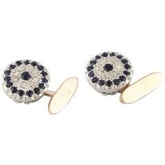 Gold Cufflinks, Silver, Diamonds and Sapphires