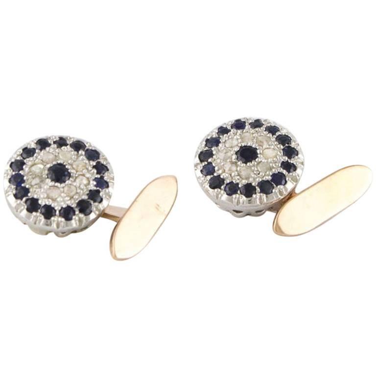 Silver Diamonds Sapphires White Gold Cufflinks