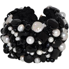 Onyx and Freshwater Pearls Artisanal Cuff Bracelet