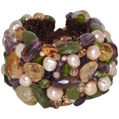 Amethyst Citrine Peridot and Freshwater Pearls Artisanal Cuff Bracelet
