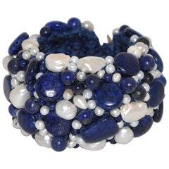 Lapis Lazuli and Freshwater Pearls Artisanal Cuff Bracelet