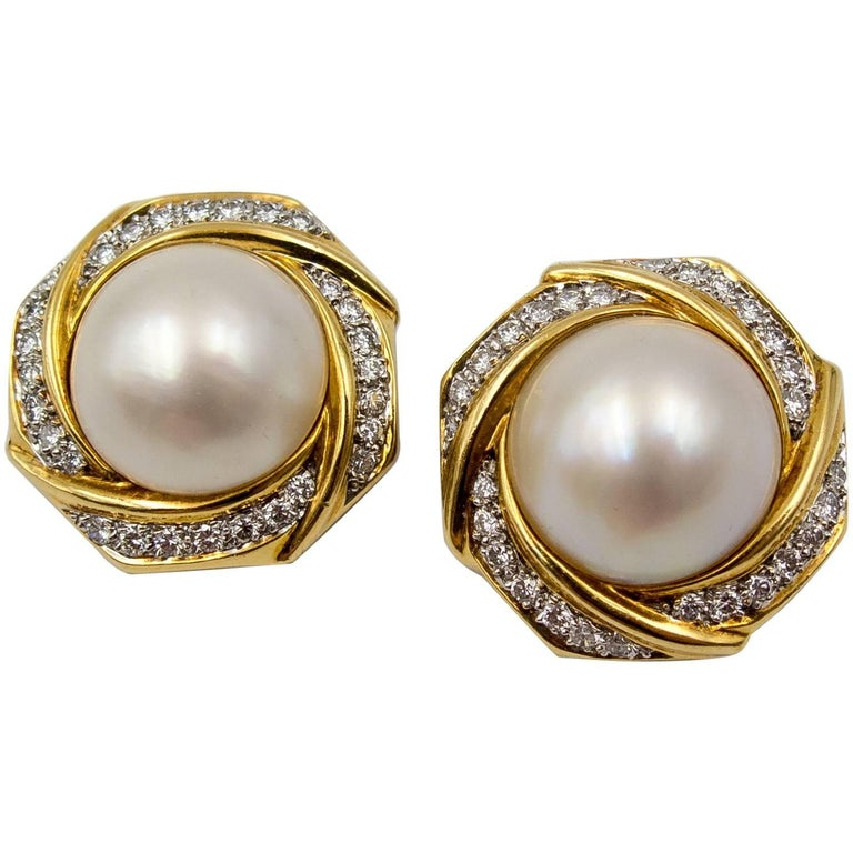 Mabe Pearl Diamond Gold Earclips