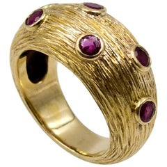 Tiffany & Co. Domed Yellow Gold Ruby Band