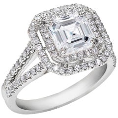 GIA Certified 2.18 Carat Asscher Cut Diamond Double Halo Engagement Ring