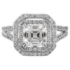 GIA Certified 2.18 Carat Asscher Cut Diamond Double Halo Engagement Ring