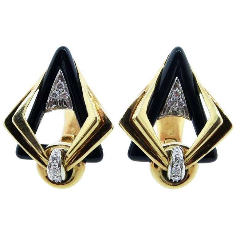 Stunning 18 Karat Onyx and Diamond Earrings For Sale