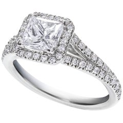 1.22 Carat Princess Cut Diamond Gold Halo Engagement Ring
